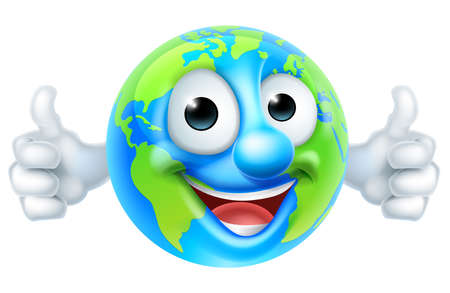 An earth thumbs up mascot globe cartoon character giving a double thumbs up