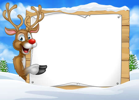 A happy Christmas Santas reindeer cartoon character in a winter scene peeking around pointing at a sign  イラスト・ベクター素材