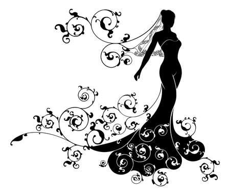 Eine Braut Silhouette Hochzeit Design mit der Braut im Brautkleid Kleid und Schleier mit einem abstrakten Blumenmuster Design-Konzept