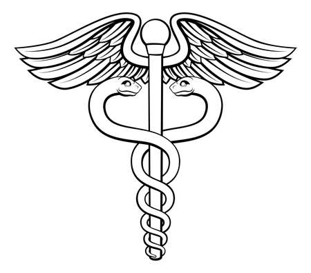An illustration of the caduceus symbol of two snakes intertwined around a winged rod. Associated with healing and medicine.