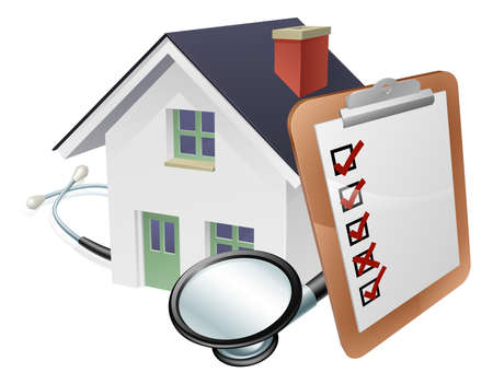 House stethoscope and survey clipboard concept concept of a house with a giant clipboard or survey leaning on it and a stethoscope wrapped around it