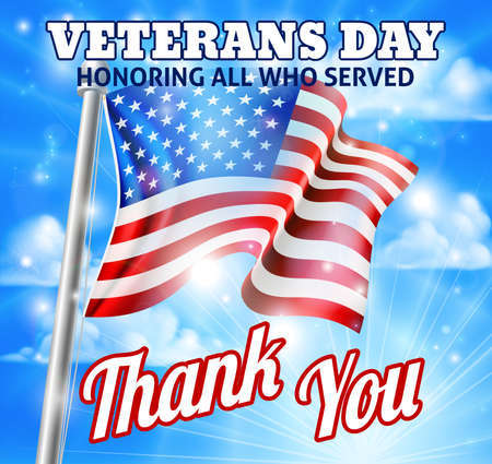 A Veterans Day honoring all who served design of an American Flag and holiday message
