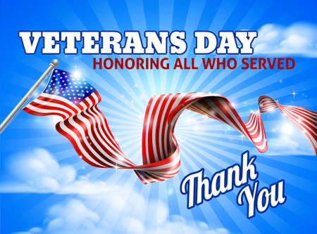 A Veterans Day American flag in the sky ribbon background design