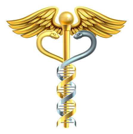 A conceptual graphic of a caduceus medical symbol made of a human DNA double helix genetic chromosome strand.