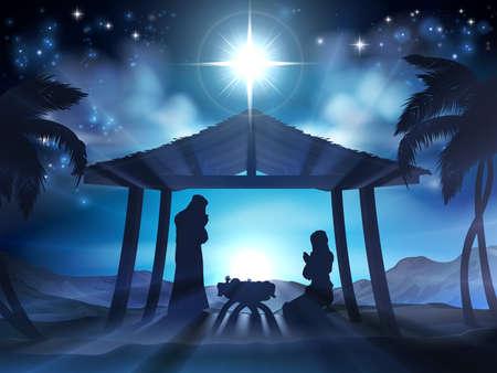 赤ちゃんメアリーとマネージャーでイエスとシルエットやヤシの木でヨセフのクリスマスのキリスト降誕のシーン