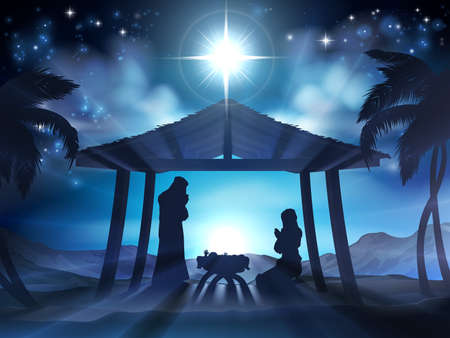 Christmas Nativity Scene of baby Jesus in the manger with Mary and Joseph in silhouette and palm trees