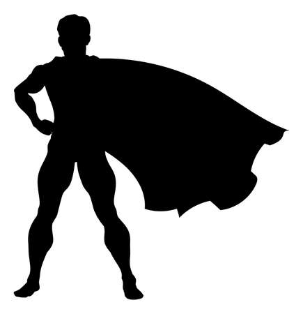 A comic book superhero silhouette with cape flying in the wind