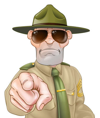 Una ilustración de un personaje sargento de instrucción enfadada apuntando