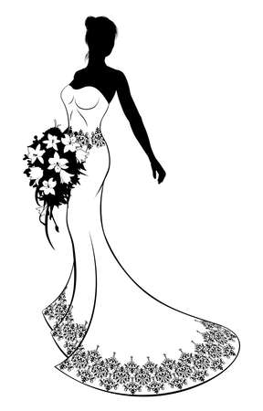 A bride silhouette wedding illustration, the bride in a white bridal dress gown with abstract floral pattern holding a floral wedding bouquet of flowers