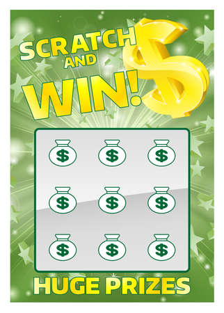 An illustration of a lottery scratchcard instant scratch and win