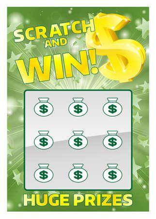 L'illustrazione di una lotteria gratta e vinci zero istantanea e vinci