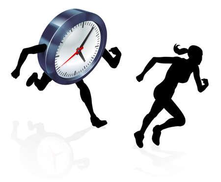 silueta de la mujer corriendo de un reloj o de carreras que el concepto de la presión del tiempo o la conciliación de la vida, de estar estresado o las carreras de un plazo Ilustración de vector