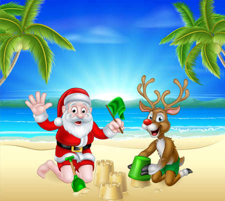 Cartoon Santa Claus and Christmas Reindeer playing on a beach making sandcastles by the beach with tropical palm trees