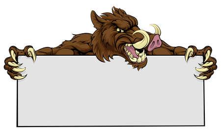 Een gemiddelde op zoek zwijn sport mascotte met een bordje Stock Illustratie