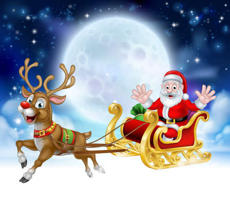 Cartoon Christmas scene of Santa Claus character in his sled sleigh with his red nosed reindeer flying in front of a full moon