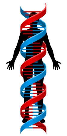 Een mens figuur in silhouet met een dubbele helix DNA Genetics chromosoom streng eromheen