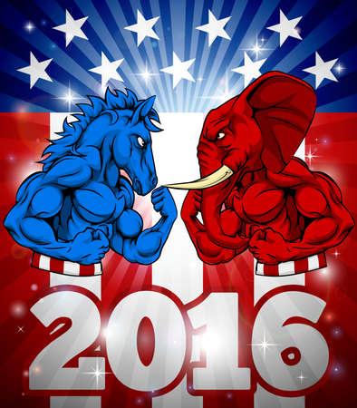 A donkey versus elephant 2016 election concept poster with the symbols of the democrat and republican parties getting ready to box or fight