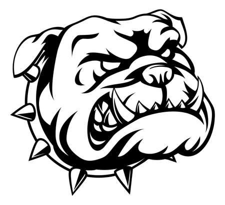 Un bulldog de dibujos animados malo mirando