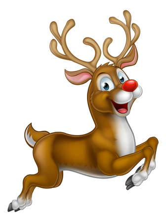 Christmas Cartoon Reindeer running along