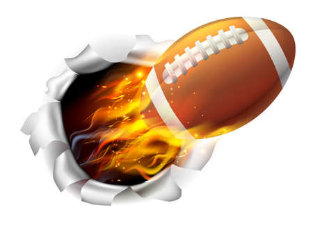 An illustration of a burning flaming American Football ball on fire tearing a hole in the background