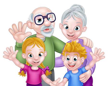 Deux dessins animés garçon et fille enfants petits-enfants avec leurs grands-parents grand-père et grand-mère Vecteurs