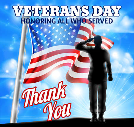 Veterans Day design of an American Flag waving in the wind with a silhouette saluting soldier