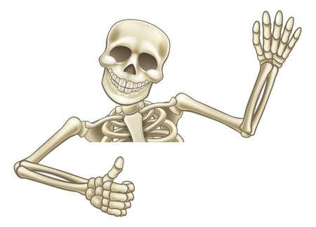 Un esqueleto personaje de dibujos animados de Halloween que mira furtivamente sobre una muestra saludando y dando un pulgar hacia arriba Ilustración de vector
