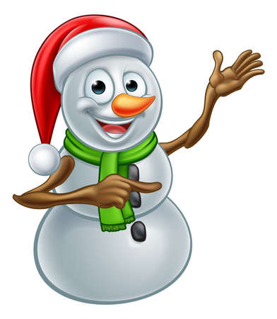 A happy Christmas snowman cartoon character pointing Vectores