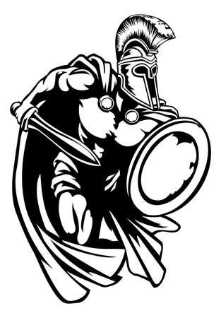スパルタ、ローマまたはトロイの木馬剣コリント式ヘルメットと盾と剣闘士古代ギリシア戦士
