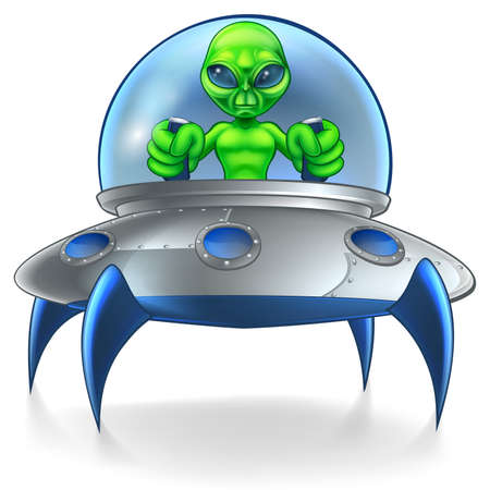 A little green man alien cartoon character piloting a flying his saucer spaceship