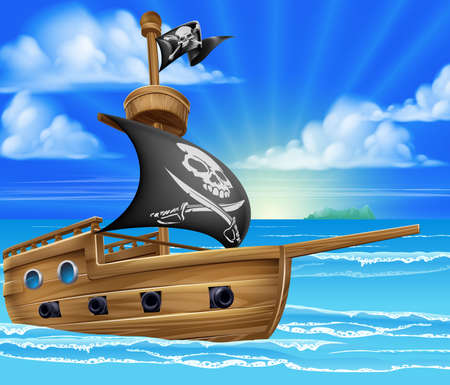 A cartoon pirate ship boat sailing in the ocean with jolly roger skull and crossed bones flag