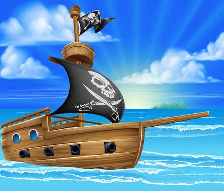 Un pirate de bande dessinée navire bateau à voile dans l'océan avec jolly roger crâne et os croisés drapeau