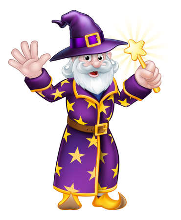 A cartoon Halloween wizard character waving a magic wand Stock Illustratie
