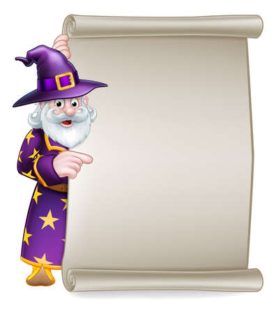 A cartoon Halloween wizard character peeking around a scroll sign and pointing