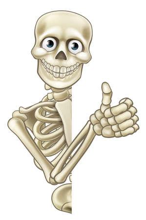 Ein Skelett Halloween lugt Cartoon-Figur um ein Zeichen und tun ein Daumen nach oben Standard-Bild - 61870835