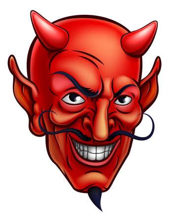Cartoon diable rouge visage satan ou Lucifer démon avec des cornes et une barbe de bouc