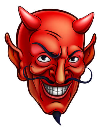 Cartoon red devil satan or Lucifer demon face with horns and a goatee beard