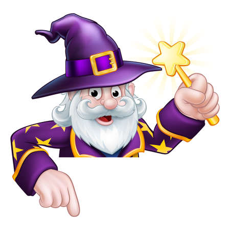 A cartoon wizard Halloween character holding a magic wand peeping over a sign and pointing Illustration