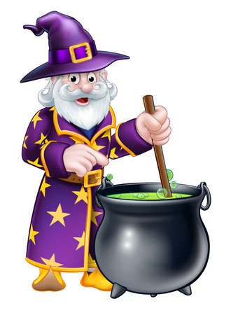 A cartoon Halloween wizard stirring a cauldron and pointing