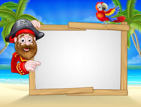 Cartoon friendly pirate on the beach with tropical palm trees, parrot and large blank sign for your text Ilustração