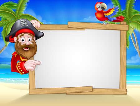 Cartoon pirate situé sur la plage avec des arbres tropicaux de palmiers, perroquets et grand panneau blanc pour votre texte