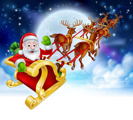 Santa Claus cartoon character in his sled sleigh with his red nosed reindeer delivering gifts in flying in front of a full moon Christmas scene