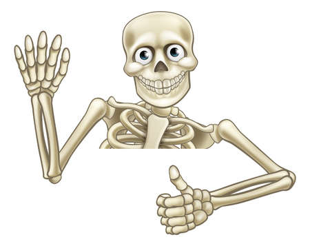 Skeleton Halloween cartoon character peeking over a sign giving a thumbs up