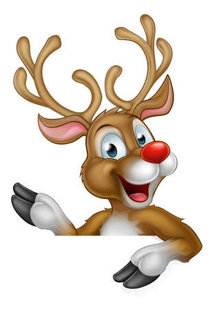 Cute cartoon Christmas reindeer pointing at a sign