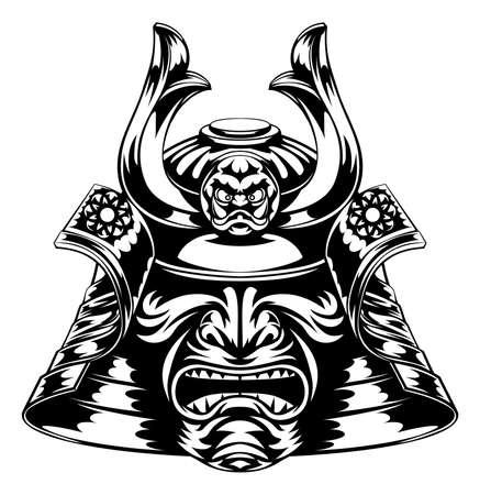일본 사무라이 마스크와 헬멧 그림