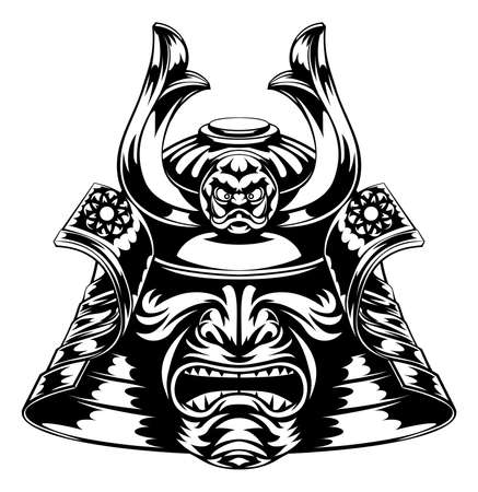 A Japanese samurai mask and helmet illustration
