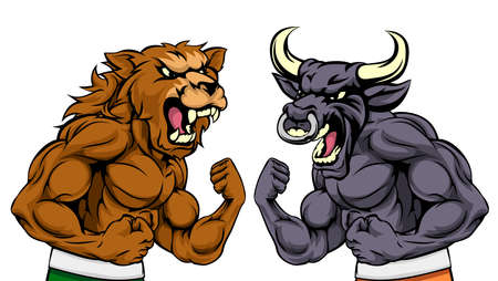 A cartoon bear fighting a cartoon bull mascot character standing for the bears versus bulls stock market metaphor
