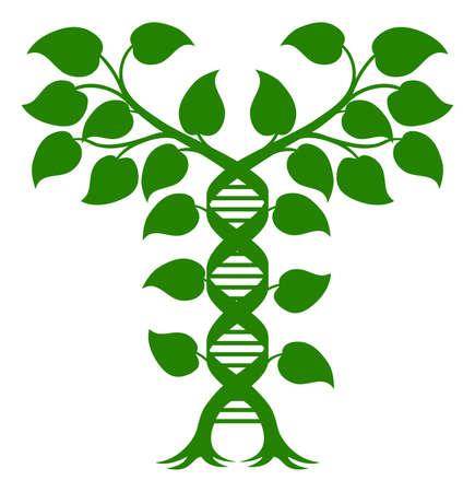 Planta de la doble hélice de ADN Concept, puede referirse a la medicina alternativa, la modificación genética de los cultivos o de otro tipo de atención médica o tema médico. Ilustración de vector