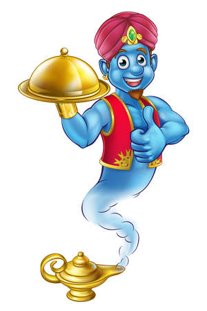 A cartoon genie like in the story of Aladdin coming out of a magic lamp and holding a tray of food while giving a thumbs up