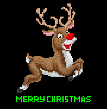 Santas Reindeer Christmas pixel art illustration Illustration